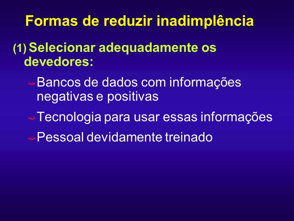 Formas de reduzir inadimplência (1) Selecionar adequadamente os devedores: ë Bancos de dados com informações negativas e positivas ë Tecnologia para u