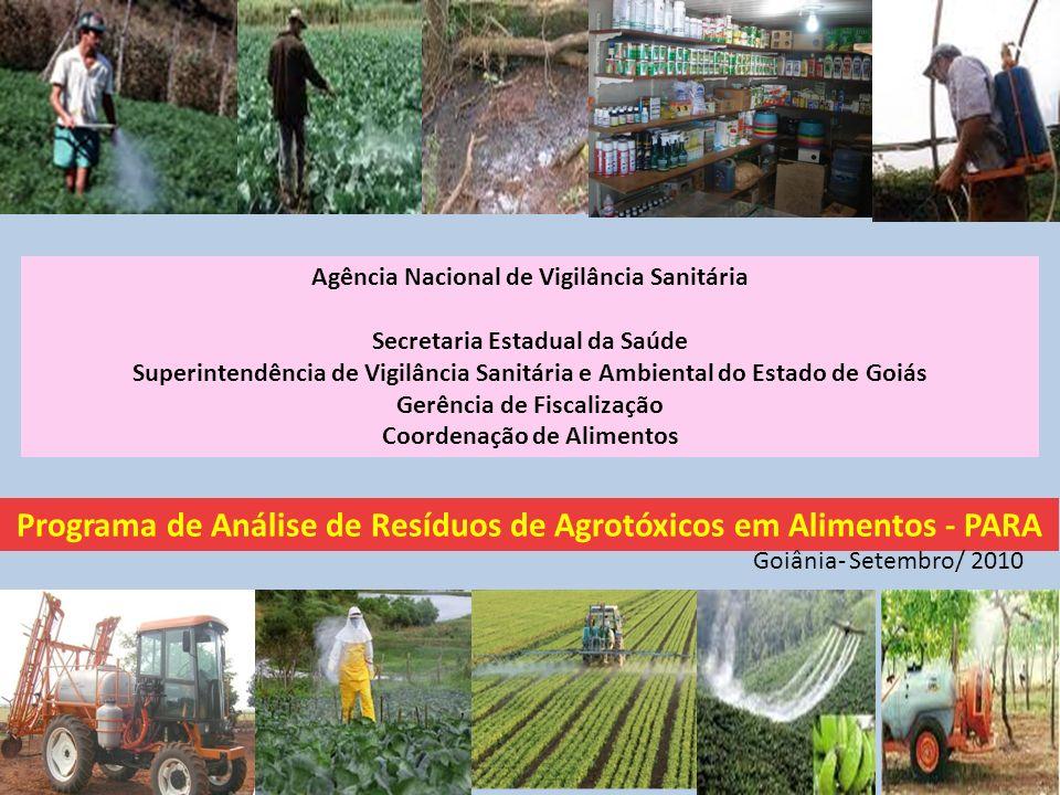 Agência Nacional de Vigilância Sanitária Secretaria Estadual da Saúde Superintendência de Vigilância Sanitária e Ambiental do Estado de Goiás Gerência de Fiscalização Coordenação de Alimentos Programa de Análise de Resíduos de Agrotóxicos em Alimentos - PARA Goiânia- Setembro/ 2010