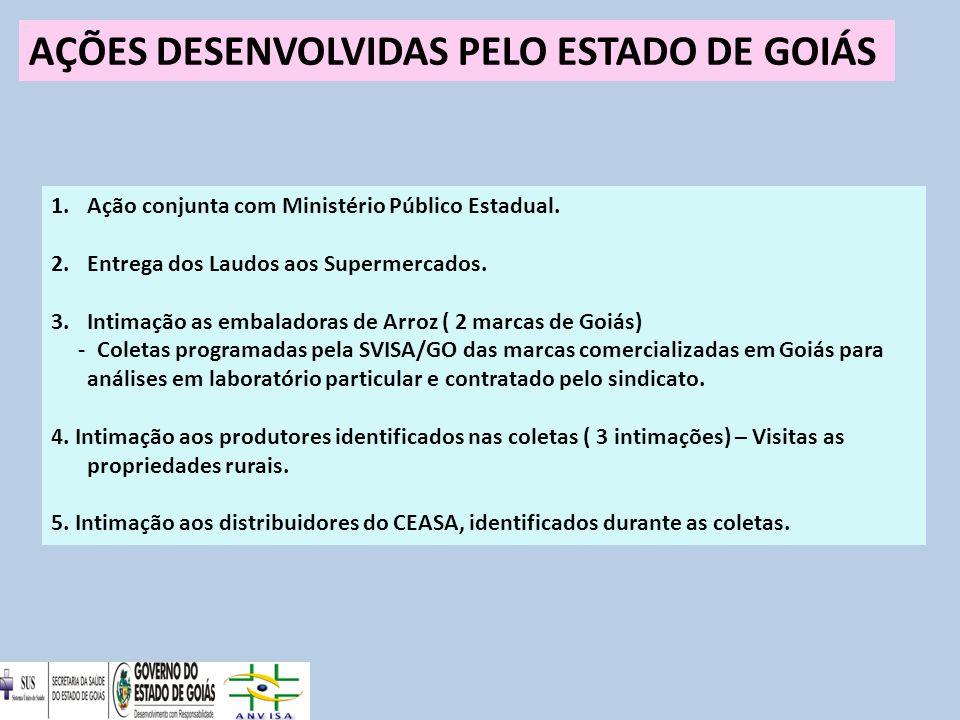 AÇÕES DESENVOLVIDAS PELO ESTADO DE GOIÁS 1.Ação conjunta com Ministério Público Estadual.
