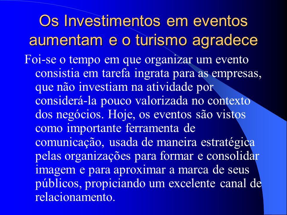 Os Investimentos em eventos aumentam e o turismo agradece Foi-se o tempo em que organizar um evento consistia em tarefa ingrata para as empresas, que