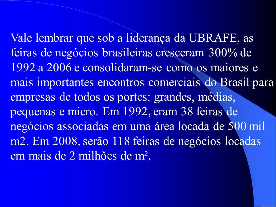 Vale lembrar que sob a liderança da UBRAFE, as feiras de negócios brasileiras cresceram 300% de 1992 a 2006 e consolidaram-se como os maiores e mais i