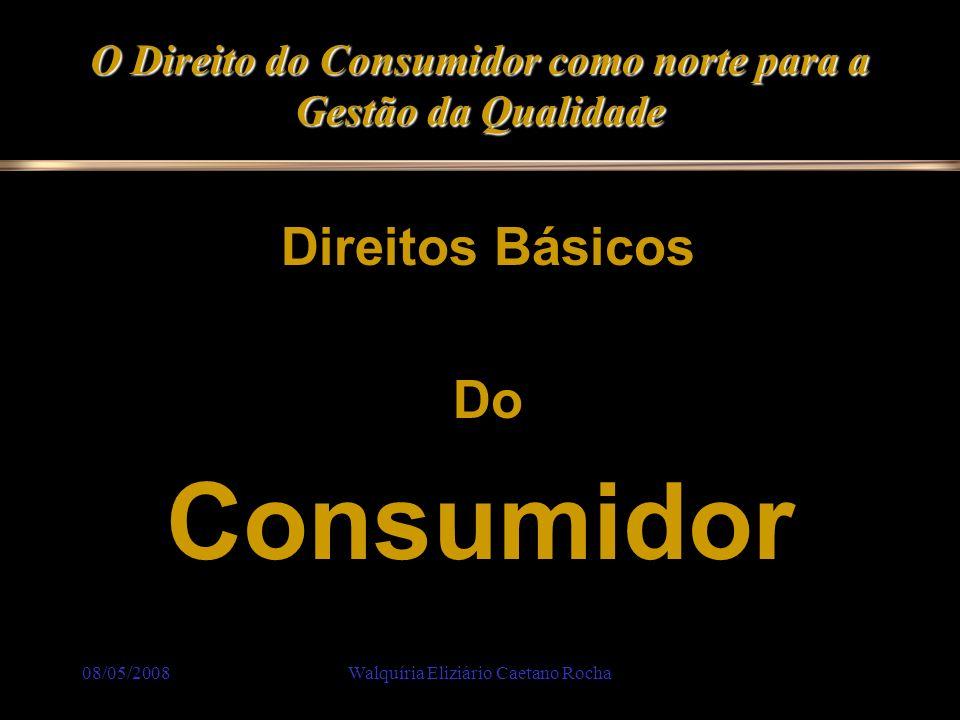 08/05/2008Walquíria Eliziário Caetano Rocha O Direito do Consumidor como norte para a Gestão da Qualidade Direitos Básicos Do Consumidor