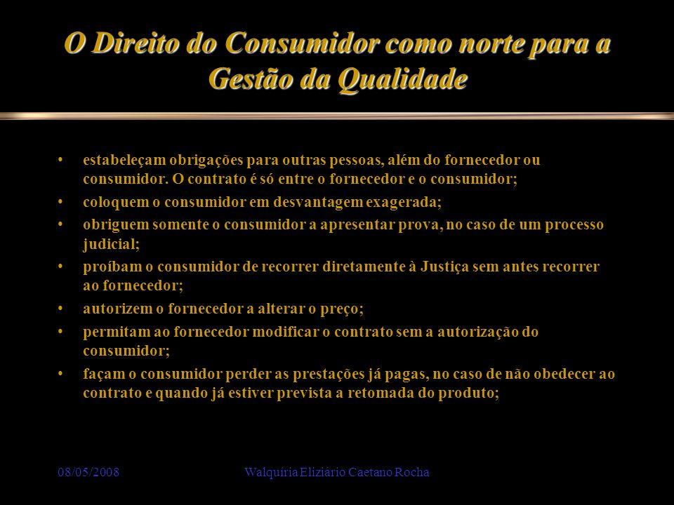 08/05/2008Walquíria Eliziário Caetano Rocha O Direito do Consumidor como norte para a Gestão da Qualidade estabeleçam obrigações para outras pessoas,
