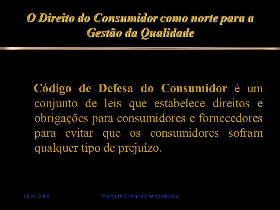 08/05/2008Walquíria Eliziário Caetano Rocha O Direito do Consumidor como norte para a Gestão da Qualidade Produto: Produto é toda mercadoria colocada à venda no comércio: automóvel, roupa, casa, alimentos...