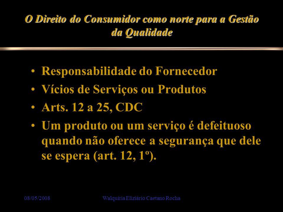 08/05/2008Walquíria Eliziário Caetano Rocha O Direito do Consumidor como norte para a Gestão da Qualidade Responsabilidade do Fornecedor Vícios de Ser