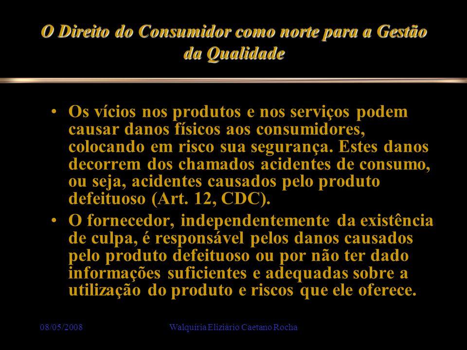 08/05/2008Walquíria Eliziário Caetano Rocha O Direito do Consumidor como norte para a Gestão da Qualidade Os vícios nos produtos e nos serviços podem