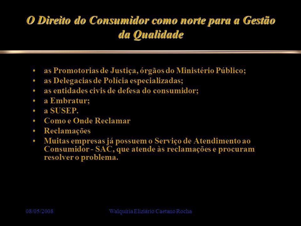08/05/2008Walquíria Eliziário Caetano Rocha O Direito do Consumidor como norte para a Gestão da Qualidade as Promotorias de Justiça, órgãos do Ministé