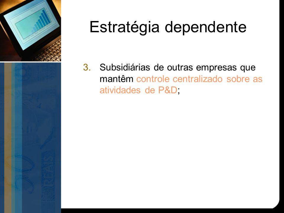 Estratégia dependente 3.Subsidiárias de outras empresas que mantêm controle centralizado sobre as atividades de P&D;