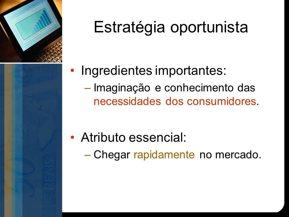Estratégia oportunista Ingredientes importantes: –Imaginação e conhecimento das necessidades dos consumidores.