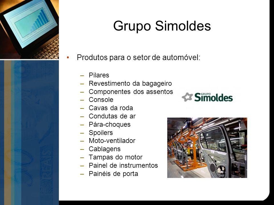 Grupo Simoldes Produtos para o setor de automóvel: –Pilares –Revestimento da bagageiro –Componentes dos assentos –Console –Cavas da roda –Condutas de ar –Pára-choques –Spoilers –Moto-ventilador –Cablagens –Tampas do motor –Painel de instrumentos –Painéis de porta