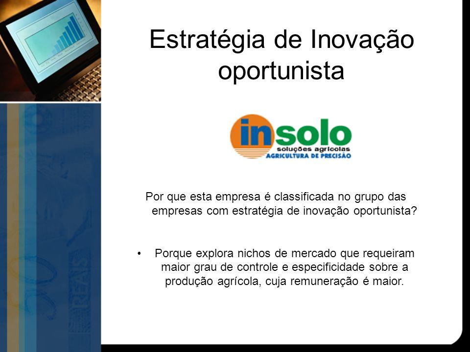Estratégia de Inovação oportunista Por que esta empresa é classificada no grupo das empresas com estratégia de inovação oportunista.