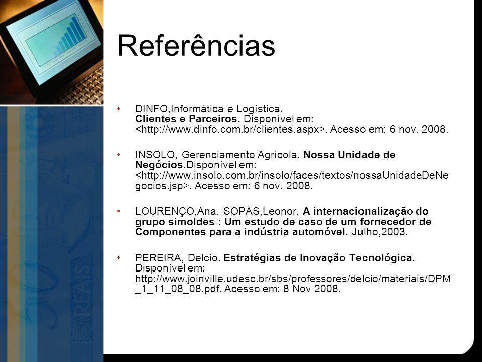 Referências DINFO,Informática e Logística.Clientes e Parceiros.