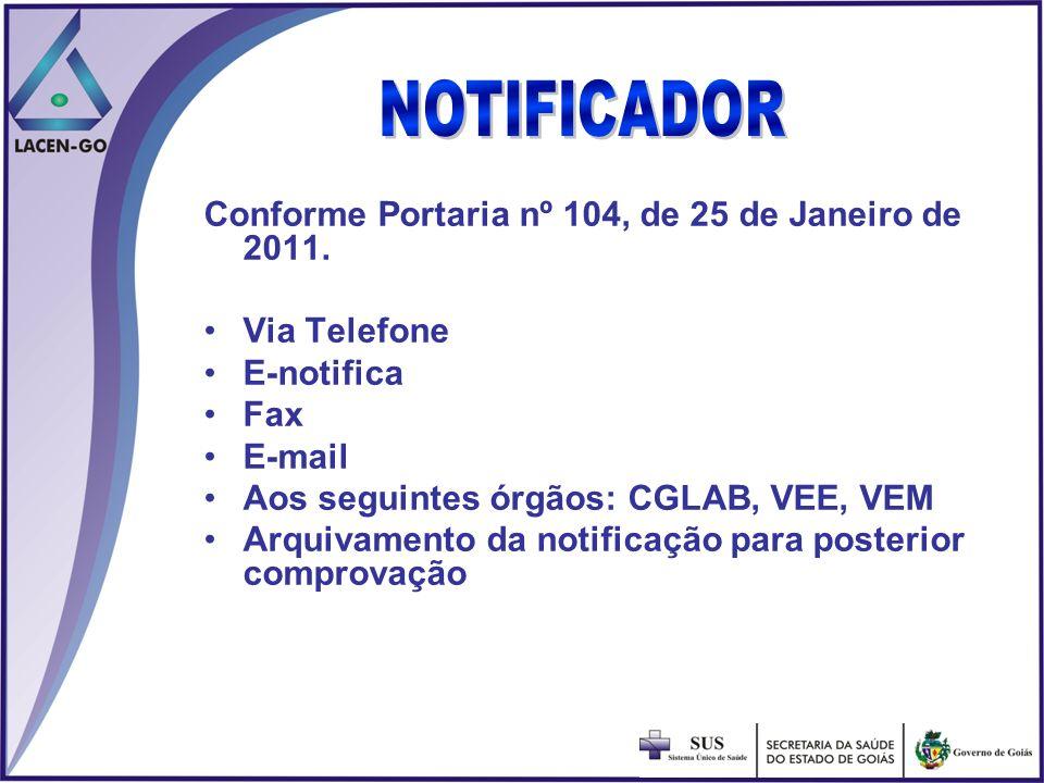 Conforme Portaria nº 104, de 25 de Janeiro de 2011. Via Telefone E-notifica Fax E-mail Aos seguintes órgãos: CGLAB, VEE, VEM Arquivamento da notificaç