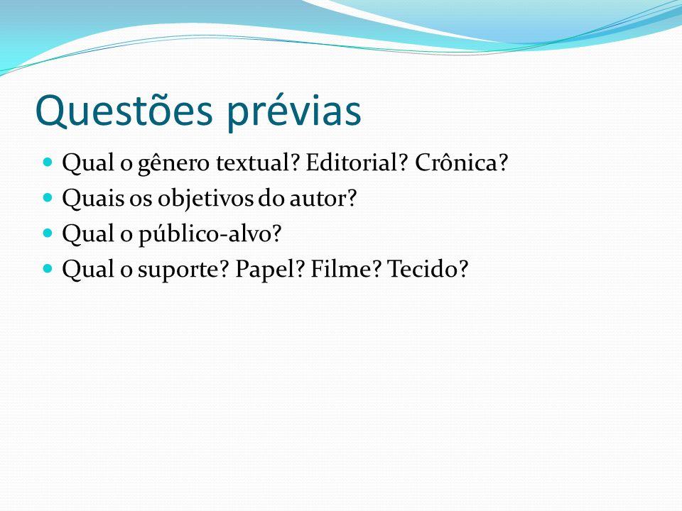 Questões prévias Qual o gênero textual? Editorial? Crônica? Quais os objetivos do autor? Qual o público-alvo? Qual o suporte? Papel? Filme? Tecido?