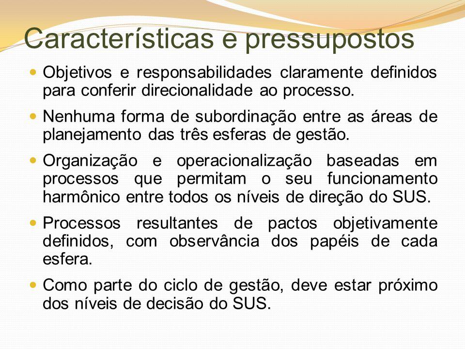 Características e pressupostos Objetivos e responsabilidades claramente definidos para conferir direcionalidade ao processo. Nenhuma forma de subordin