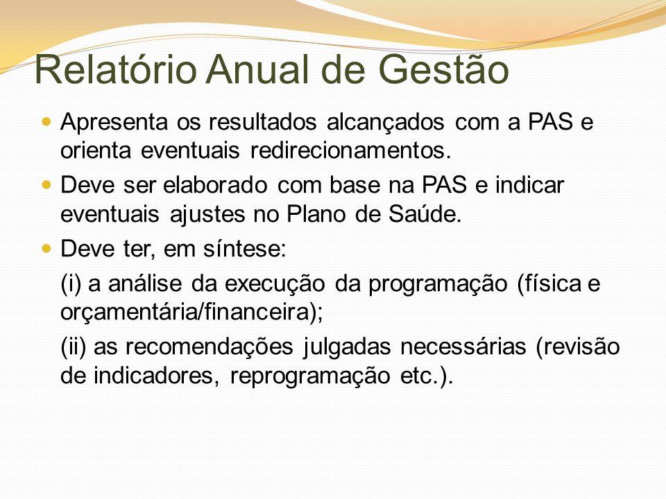 Relatório Anual de Gestão Apresenta os resultados alcançados com a PAS e orienta eventuais redirecionamentos. Deve ser elaborado com base na PAS e ind