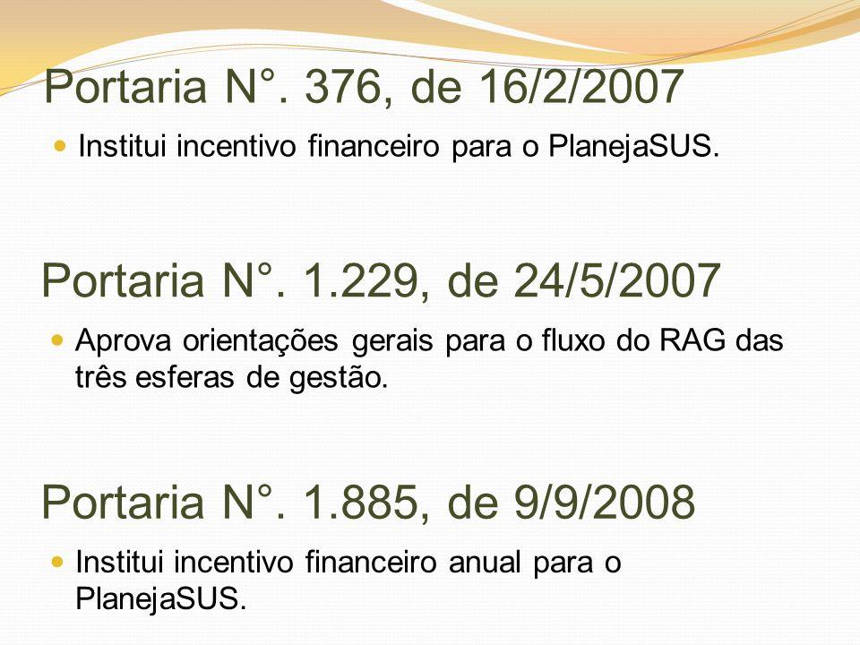 Portaria N°. 376, de 16/2/2007 Institui incentivo financeiro para o PlanejaSUS. Portaria N°. 1.229, de 24/5/2007 Aprova orientações gerais para o flux