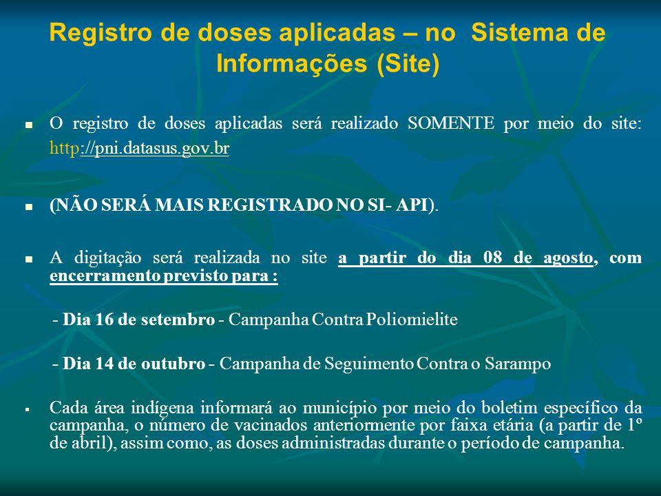 Registro de doses aplicadas – no Sistema de Informações (Site) O registro de doses aplicadas será realizado SOMENTE por meio do site: http://pni.datas