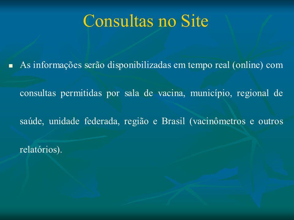 Consultas no Site As informações serão disponibilizadas em tempo real (online) com consultas permitidas por sala de vacina, município, regional de saú