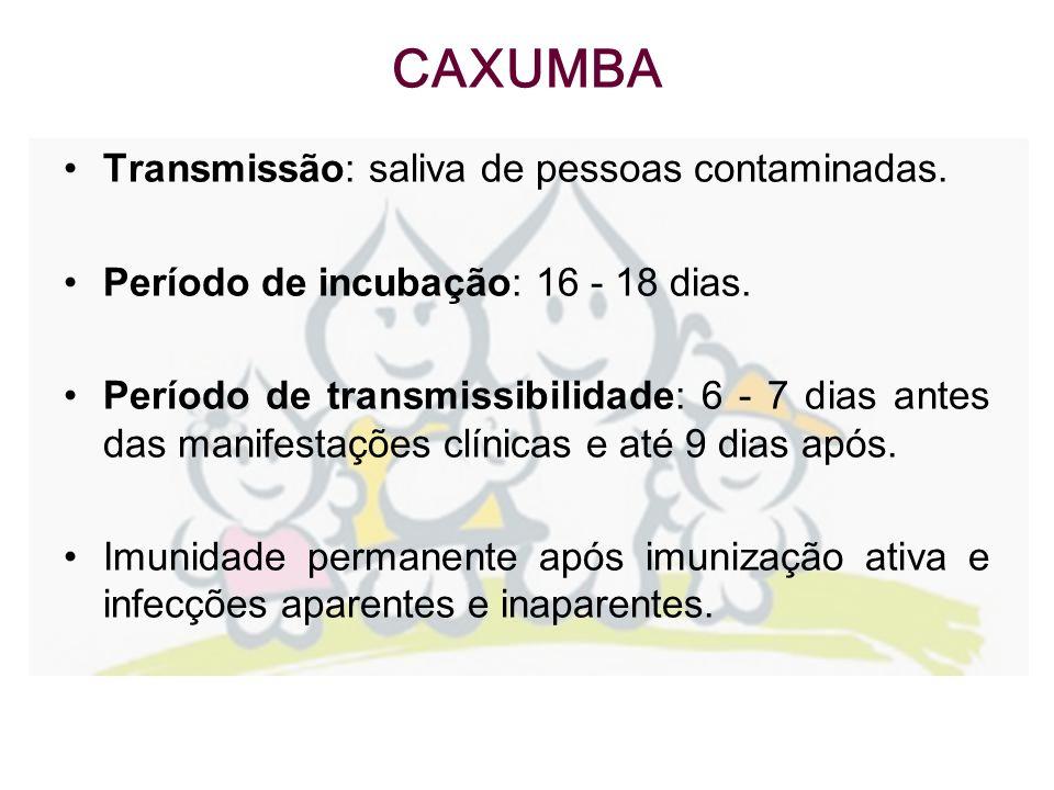 Transmissão: saliva de pessoas contaminadas. Período de incubação: 16 - 18 dias. Período de transmissibilidade: 6 - 7 dias antes das manifestações clí