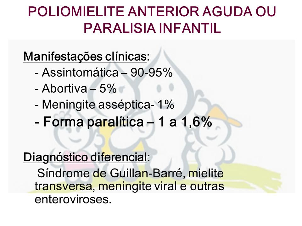 POLIOMIELITE ANTERIOR AGUDA OU PARALISIA INFANTIL Diagnóstico laboratorial : -Isolamento do vírus (amostra de fezes) -PCR -Líquor -Eletromiografia -Anatomopatologia