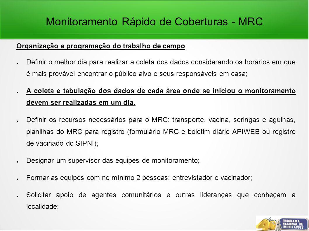 Monitoramento Rápido de Coberturas - MRC Organização e programação do trabalho de campo Definir o melhor dia para realizar a coleta dos dados consider