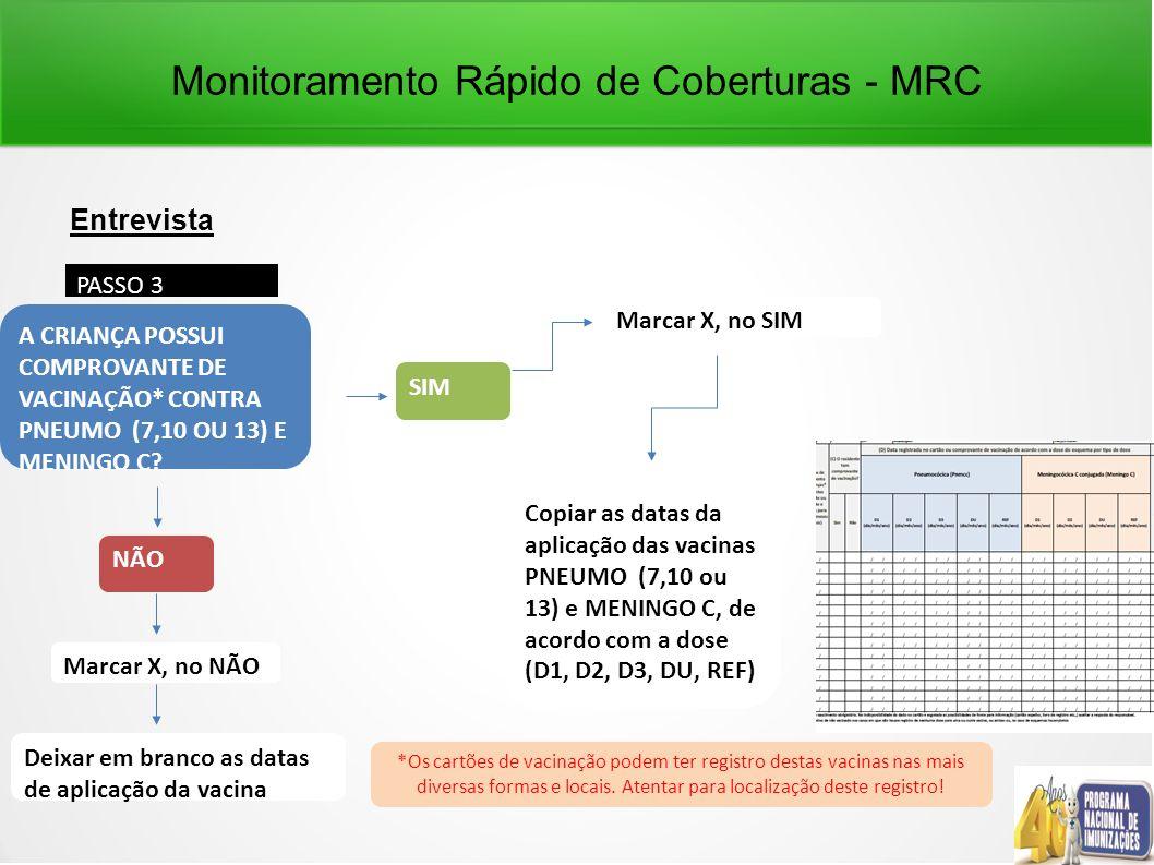 Monitoramento Rápido de Coberturas - MRC Entrevista PASSO 3 NÃO Marcar X, no NÃO A CRIANÇA POSSUI COMPROVANTE DE VACINAÇÃO* CONTRA PNEUMO (7,10 OU 13) E MENINGO C.