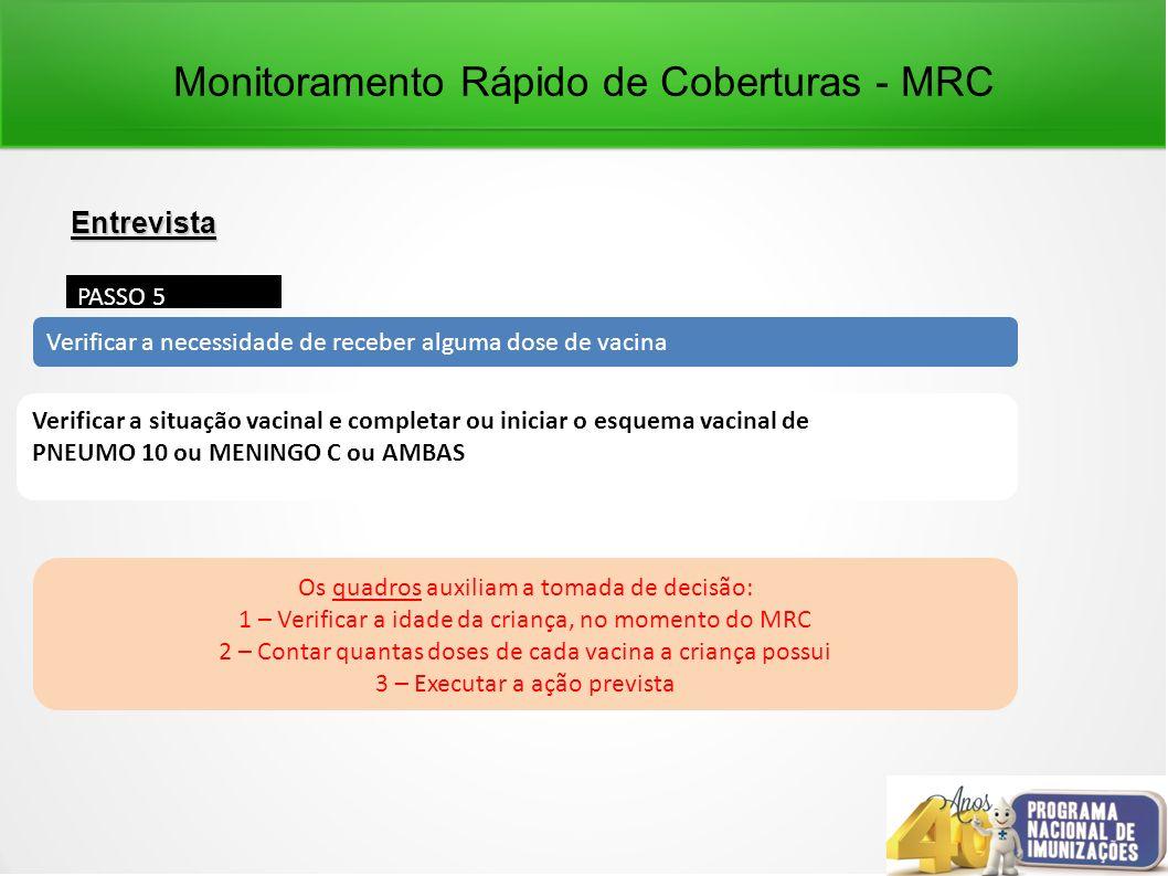 Monitoramento Rápido de Coberturas - MRC Entrevista PASSO 5 Verificar a necessidade de receber alguma dose de vacina Verificar a situação vacinal e co