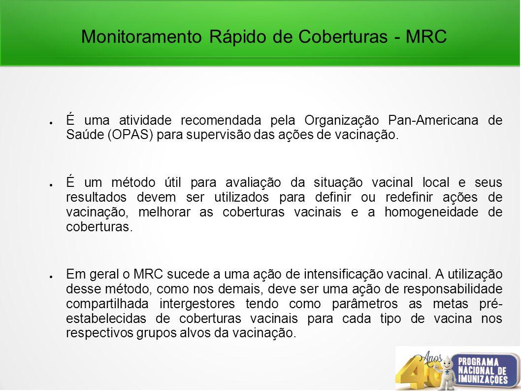 Monitoramento Rápido de Coberturas - MRC É uma atividade recomendada pela Organização Pan-Americana de Saúde (OPAS) para supervisão das ações de vacinação.