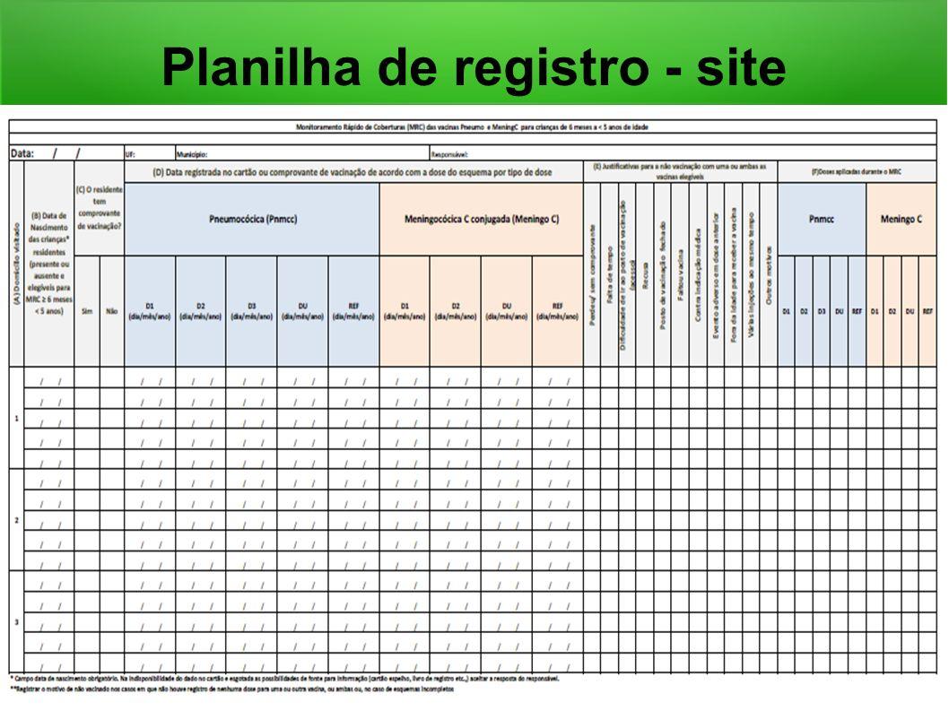 Planilha de registro - site