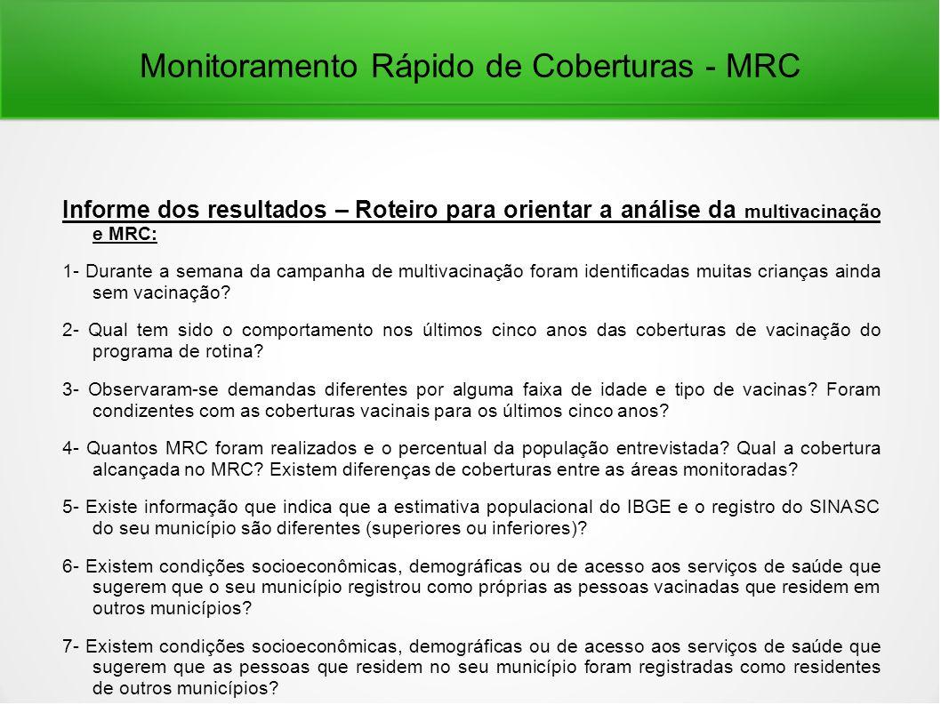 Monitoramento Rápido de Coberturas - MRC Informe dos resultados – Roteiro para orientar a análise da multivacinação e MRC: 1- Durante a semana da campanha de multivacinação foram identificadas muitas crianças ainda sem vacinação.