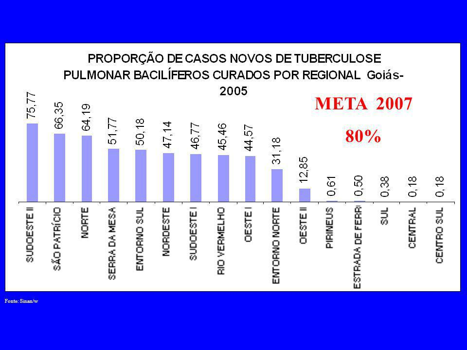 Fonte: Sinan/w META 2007 80%