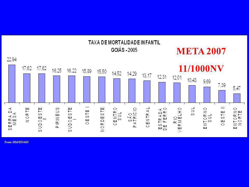 Fonte: SIM/SINASC META 2007 11/1000NV