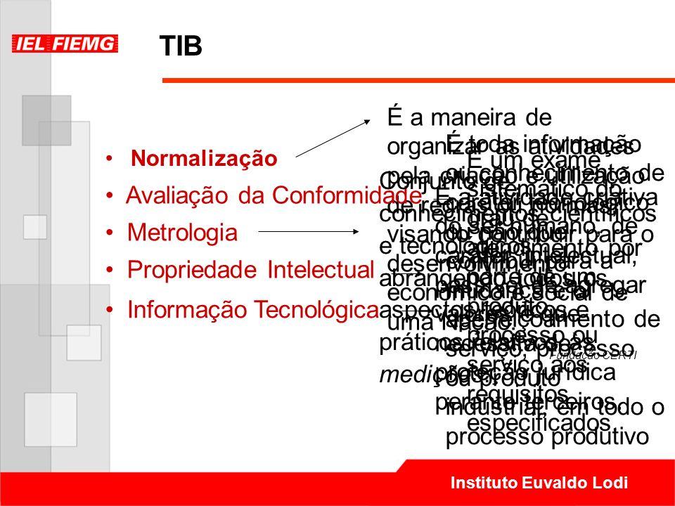 Instituto Euvaldo Lodi TIB Normalização É a maneira de organizar as atividades pela criação e utilização de regras ou normas, visando contribuir para