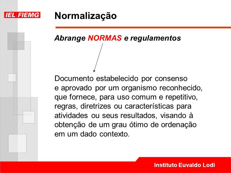 Instituto Euvaldo Lodi Normalização Documento estabelecido por consenso e aprovado por um organismo reconhecido, que fornece, para uso comum e repetit