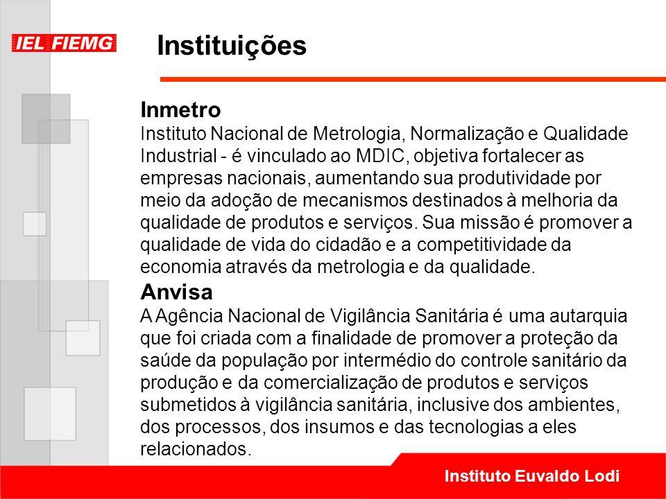 Instituto Euvaldo Lodi Instituições Inmetro Instituto Nacional de Metrologia, Normalização e Qualidade Industrial - é vinculado ao MDIC, objetiva fort