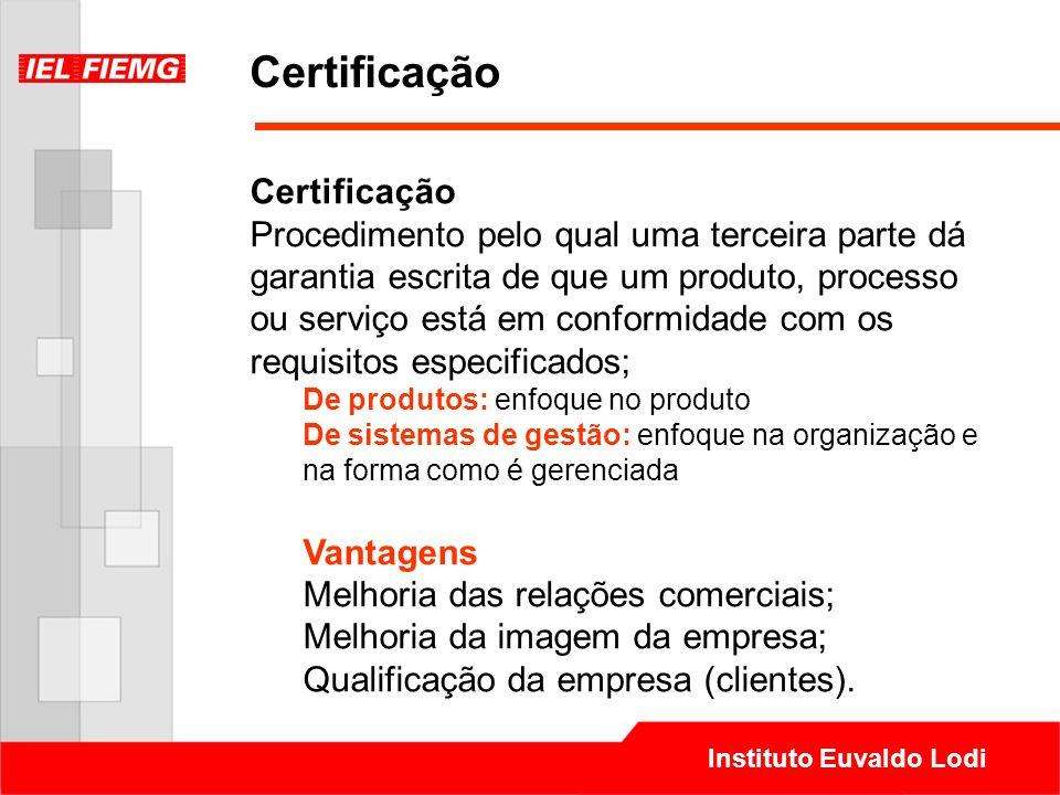 Instituto Euvaldo Lodi Certificação Procedimento pelo qual uma terceira parte dá garantia escrita de que um produto, processo ou serviço está em confo