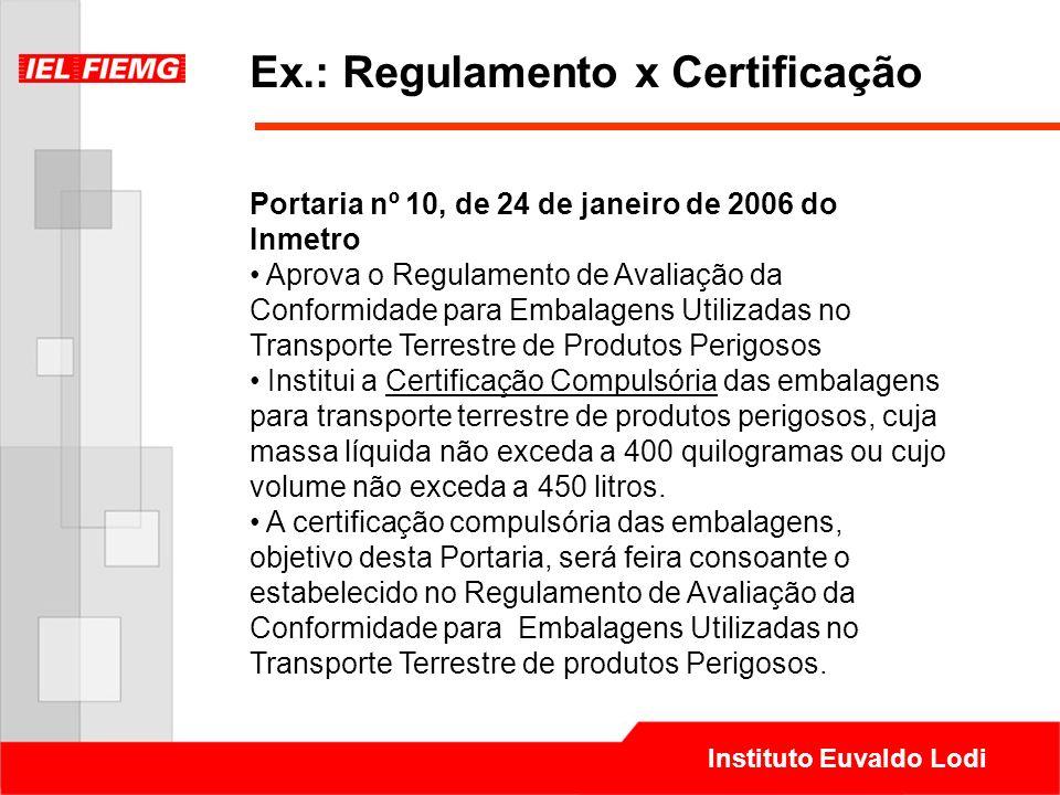 Instituto Euvaldo Lodi Ex.: Regulamento x Certificação Portaria nº 10, de 24 de janeiro de 2006 do Inmetro Aprova o Regulamento de Avaliação da Confor