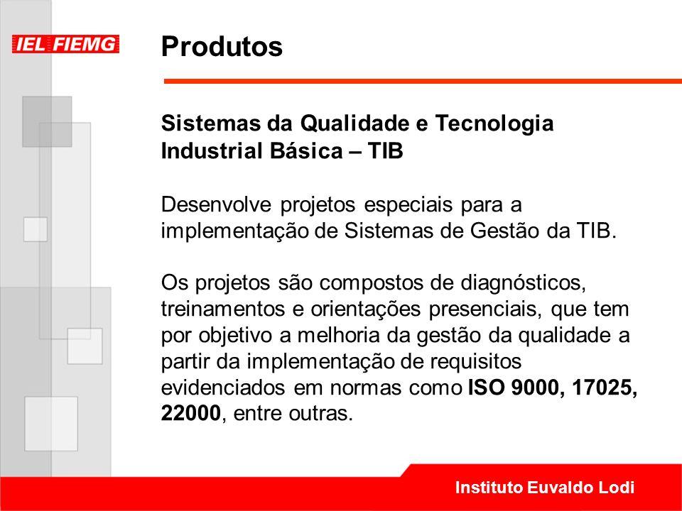 Instituto Euvaldo Lodi Produtos Sistemas da Qualidade e Tecnologia Industrial Básica – TIB Desenvolve projetos especiais para a implementação de Siste