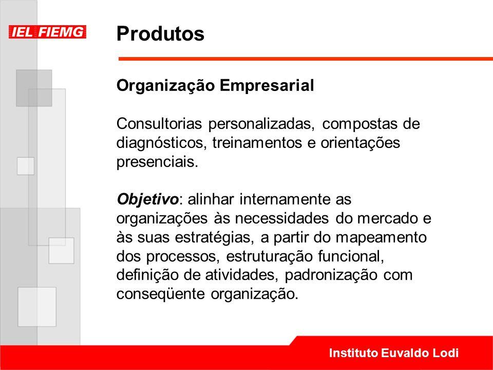 Instituto Euvaldo Lodi Produtos Organização Empresarial Consultorias personalizadas, compostas de diagnósticos, treinamentos e orientações presenciais