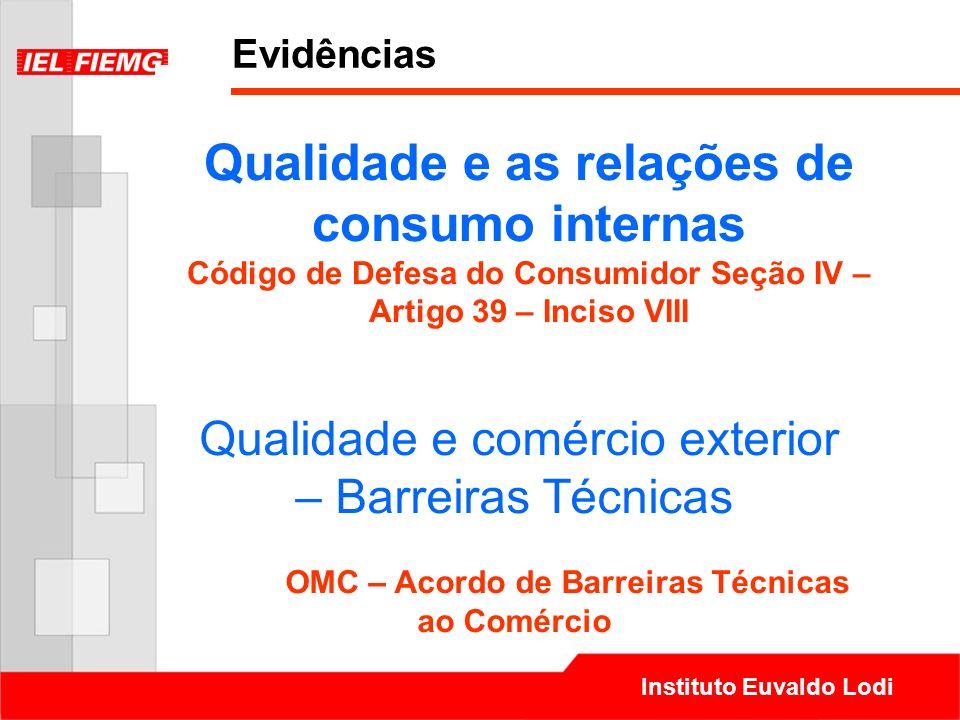 Instituto Euvaldo Lodi Qualidade e as relações de consumo internas Código de Defesa do Consumidor Seção IV – Artigo 39 – Inciso VIII Qualidade e comér