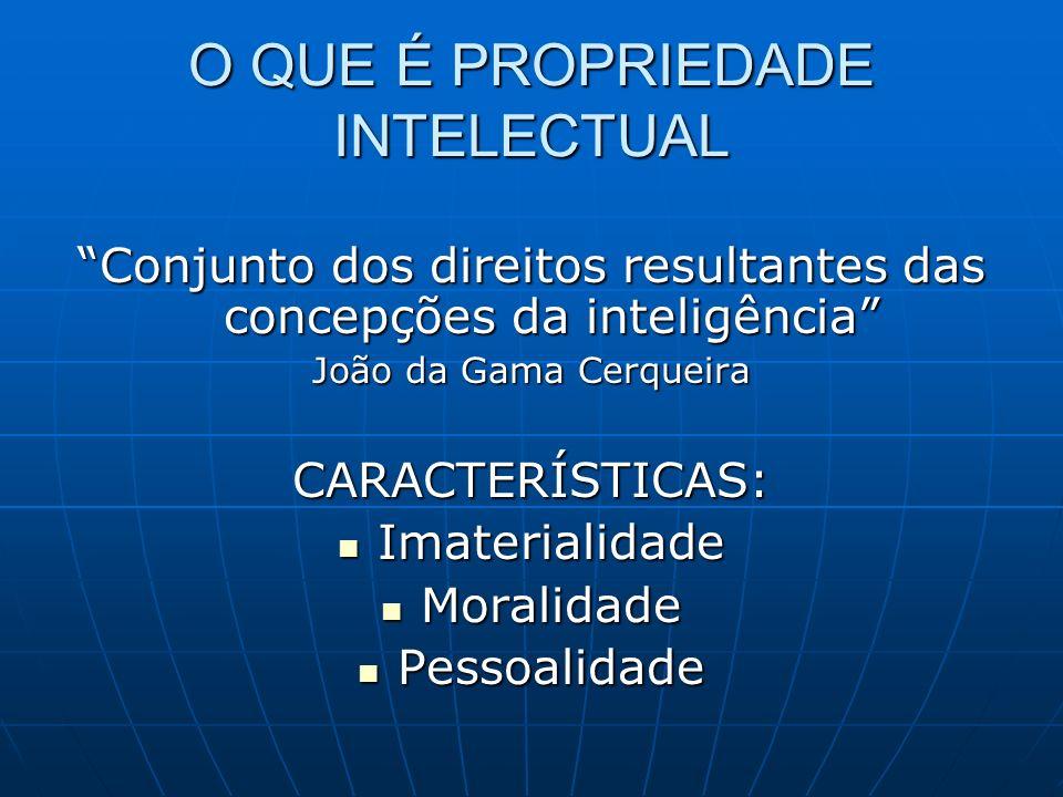 O QUE É PROPRIEDADE INTELECTUAL Conjunto dos direitos resultantes das concepções da inteligência João da Gama Cerqueira CARACTERÍSTICAS: Imaterialidad