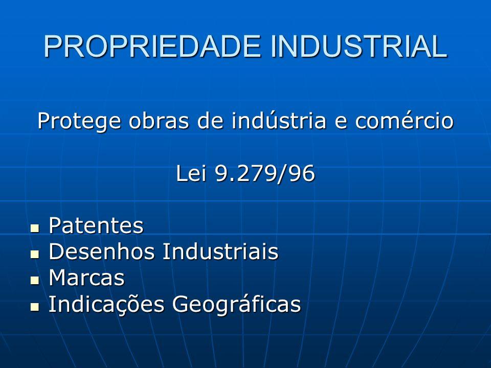 PROPRIEDADE INDUSTRIAL Protege obras de indústria e comércio Lei 9.279/96 Patentes Patentes Desenhos Industriais Desenhos Industriais Marcas Marcas In