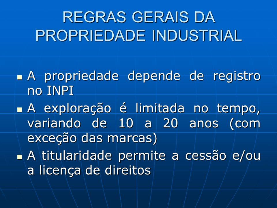 REGRAS GERAIS DA PROPRIEDADE INDUSTRIAL A propriedade depende de registro no INPI A propriedade depende de registro no INPI A exploração é limitada no