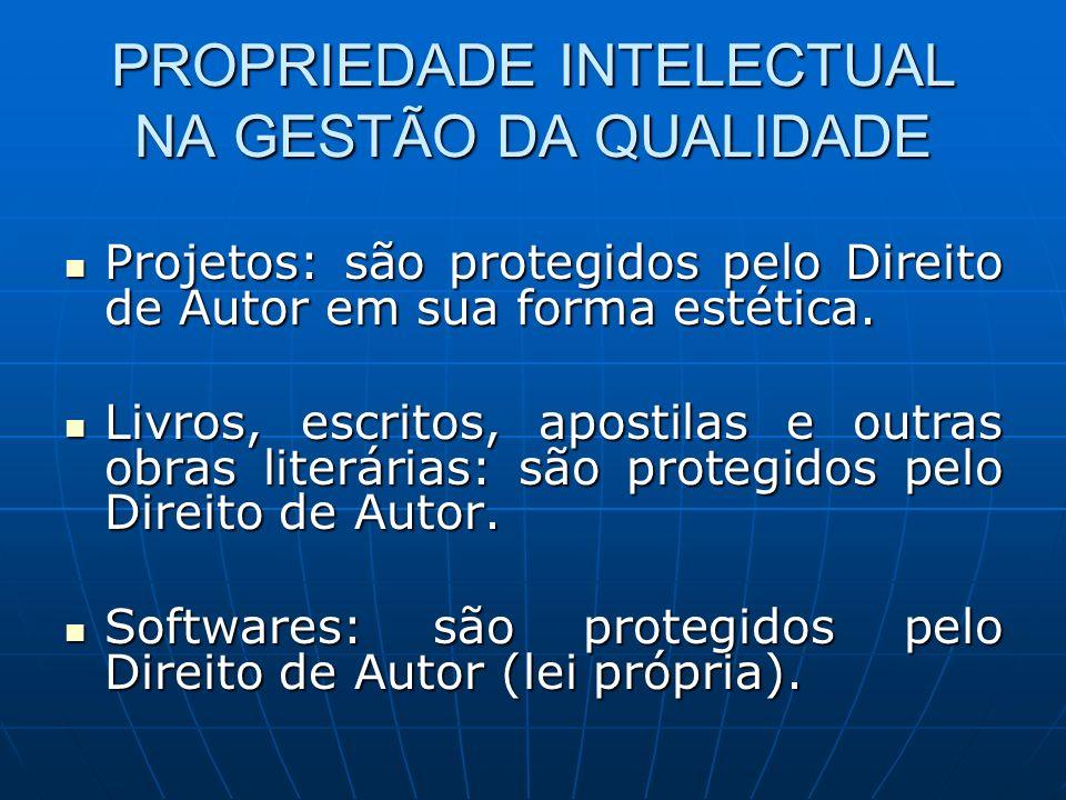 PROPRIEDADE INTELECTUAL NA GESTÃO DA QUALIDADE Projetos: são protegidos pelo Direito de Autor em sua forma estética. Projetos: são protegidos pelo Dir