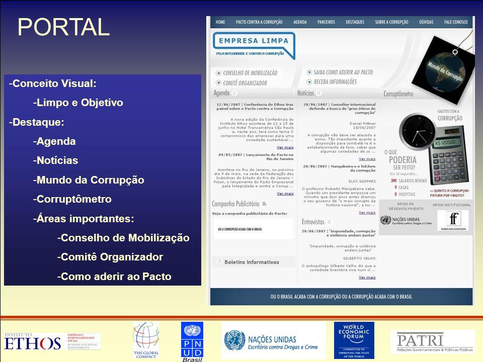 PORTAL -Conceito Visual: -Limpo e Objetivo -Destaque: -Agenda -Notícias -Mundo da Corrupção -Corruptômetro -Áreas importantes: -Conselho de Mobilização -Comitê Organizador -Como aderir ao Pacto
