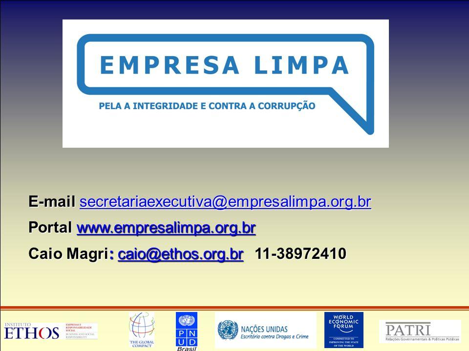 E-mail secretariaexecutiva@empresalimpa.org.br secretariaexecutiva@empresalimpa.org.br Portal www.empresalimpa.org.br www.empresalimpa.org.br Caio Magri: caio@ethos.org.br 11-38972410 caio@ethos.org.br