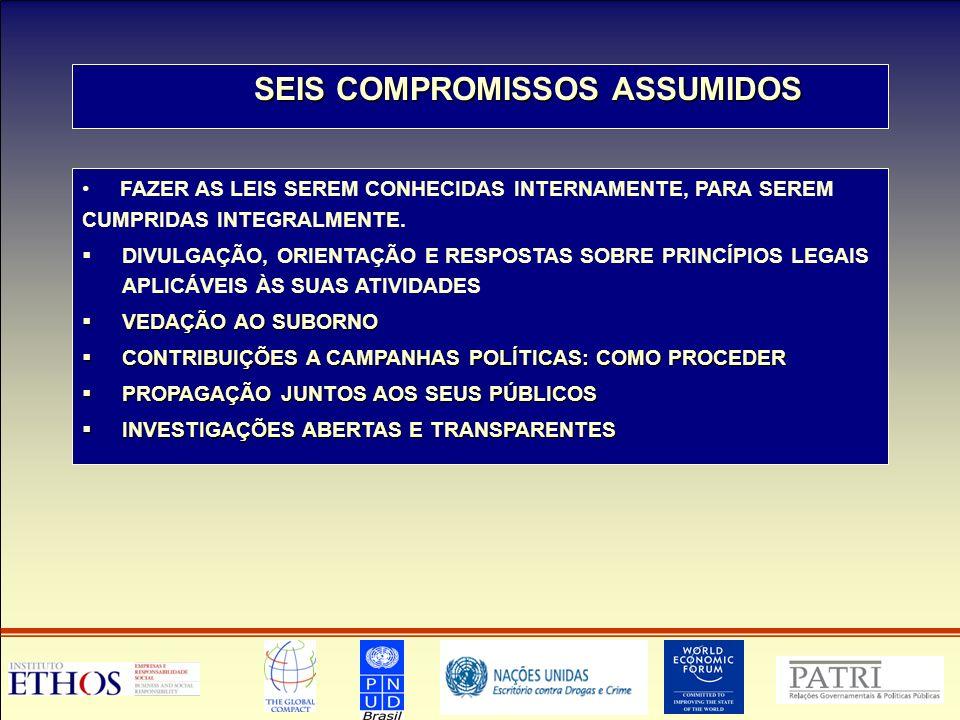 SEIS COMPROMISSOS ASSUMIDOS SEIS COMPROMISSOS ASSUMIDOS FAZER AS LEIS SEREM CONHECIDAS INTERNAMENTE, PARA SEREM CUMPRIDAS INTEGRALMENTE.