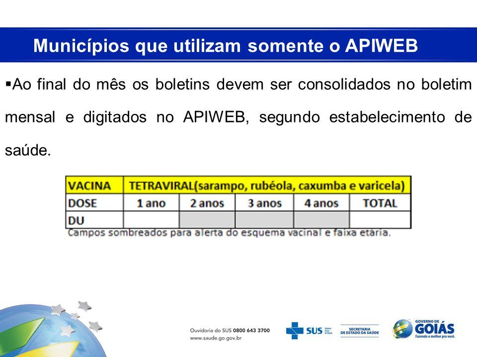 Municípios que utilizam somente o APIWEB Ao final do mês os boletins devem ser consolidados no boletim mensal e digitados no APIWEB, segundo estabelec