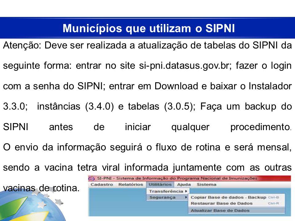 Atenção: Deve ser realizada a atualização de tabelas do SIPNI da seguinte forma: entrar no site si-pni.datasus.gov.br; fazer o login com a senha do SI